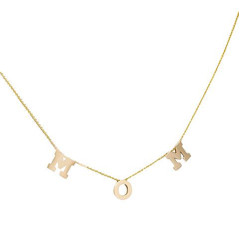 "14K Yellow Gold ""MOM"" Necklace, Block Letter/Initials Necklace"