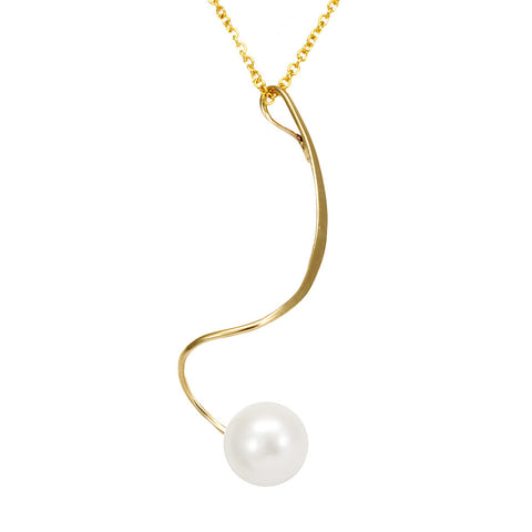 White Pearl Wire Pendant Necklace, 14K Yellow Gold Ladies Necklace, Pearl Pendant