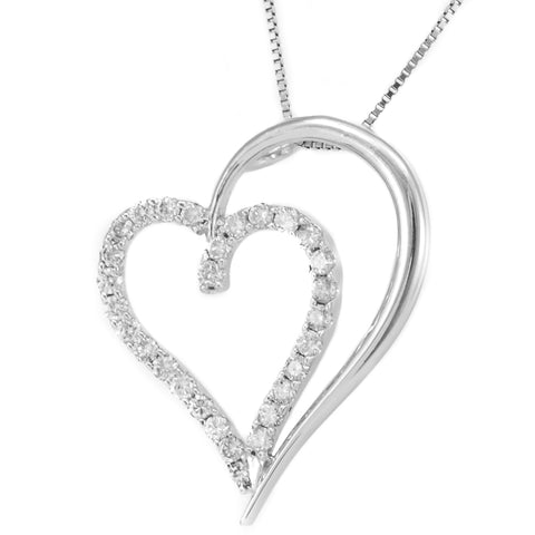 Double Heart Diamond Pendant, 14K White Gold Ladies Pendant, Love Pendant,Ladies Fine Jewelry
