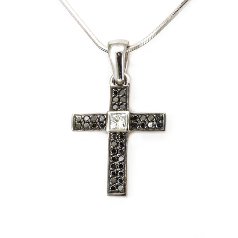Black and Princess Cut Diamond Cross Pendant in 14K White Gold