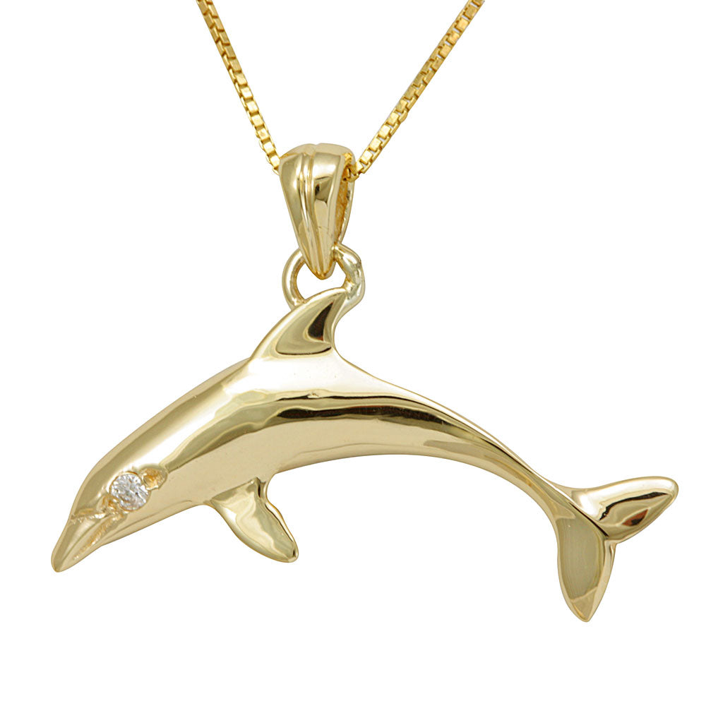 Diamond Dolphin Pendant, 14K Yellow Gold Pendant