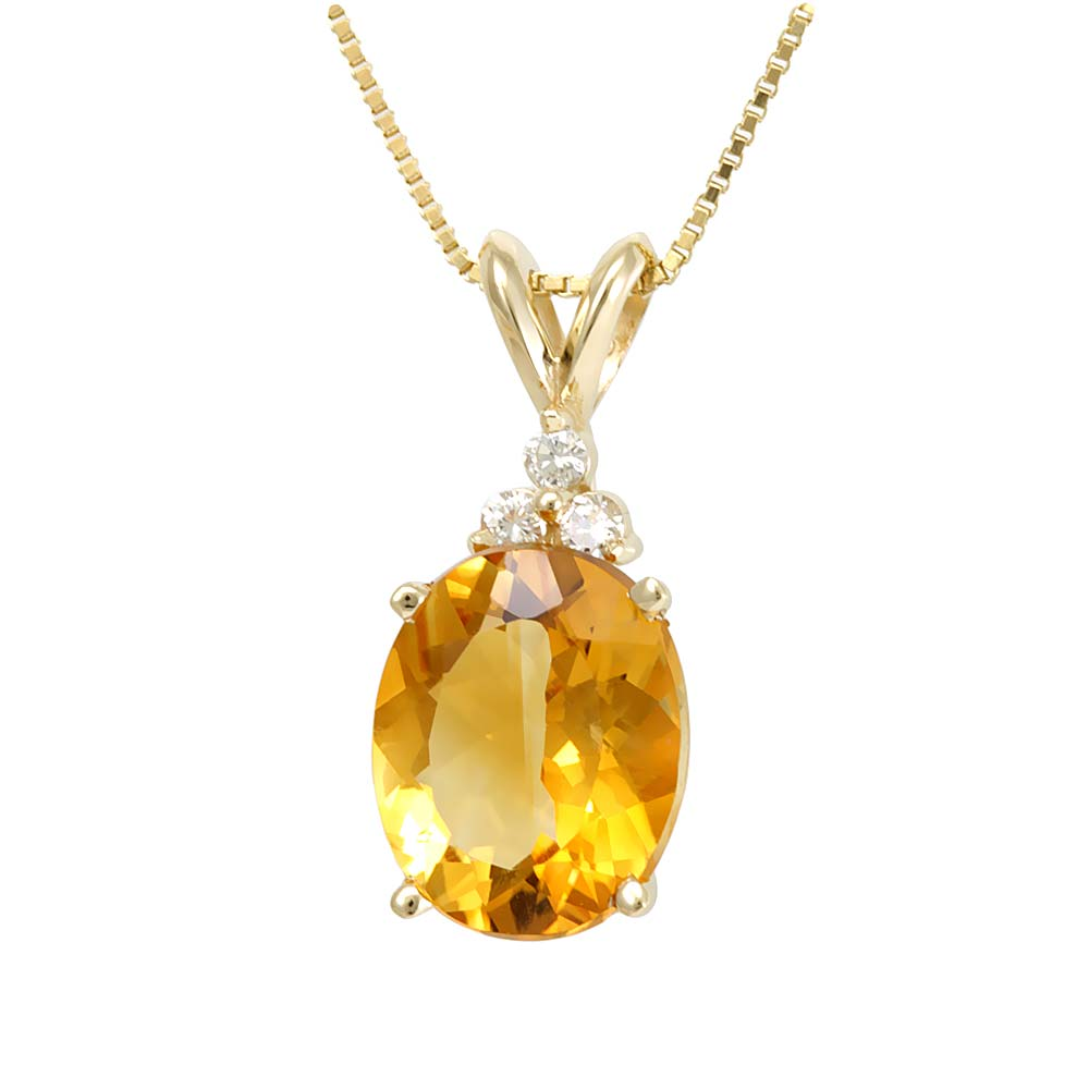 Oval Citrine Diamond Pendant in 14K Yellow Gold , Ladies Diamond Pendant