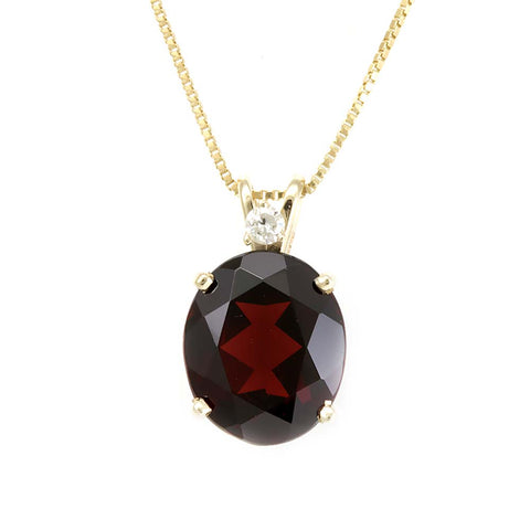 Oval Garnet Diamond Pendant in 14K Yellow Gold , Ladies Diamond Pendant