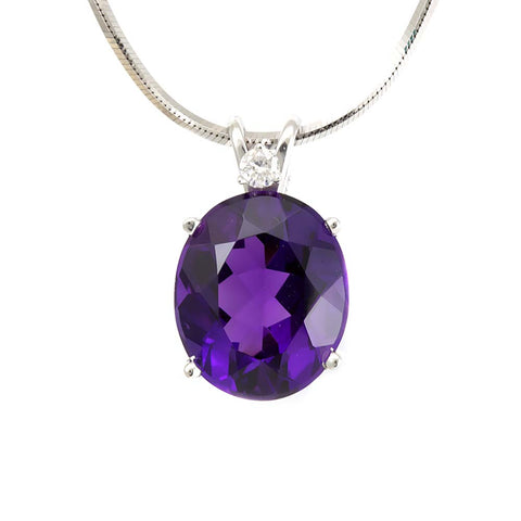Oval Amethyst Diamond Pendant in 14K White Gold , Ladies Diamond Pendant