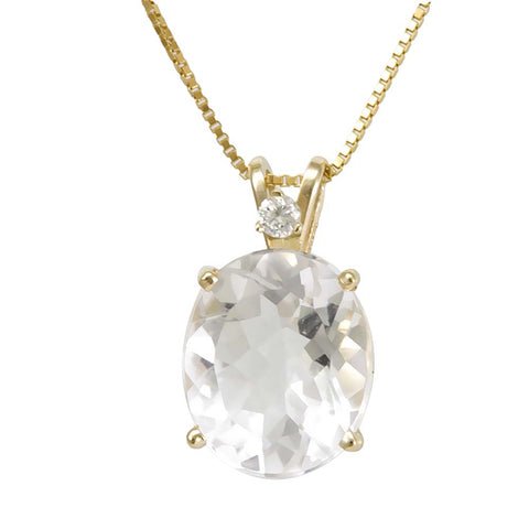 Oval White Topaz Diamond Pendant in 14K White Gold , Ladies Diamond Pendant