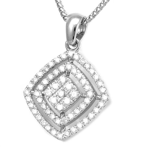 Sideway Square Diamond Pendant Necklace in 14k White Gold