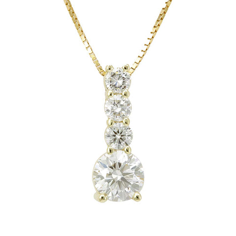 Drop Down Diamond Pendant in 14K White Gold