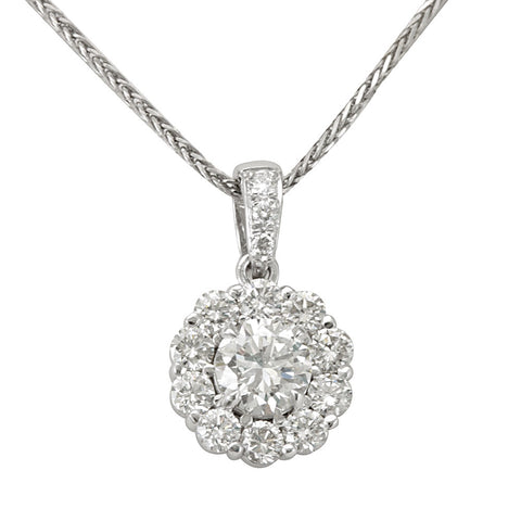 Halo Diamond Pendant in 14K White Gold, Cluster Diamond Pendant with CZ center
