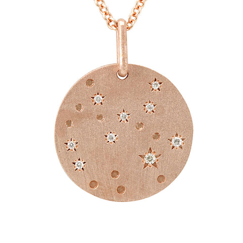 Sagittarius Zodiac Sign Constellation Star Diamond Pendant in 14K Rose Gold