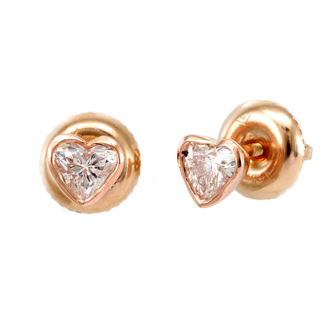 Heart Shape Diamond Stud Earrings, 14K Rose Gold Heart Diamond Earrings, Heart Shape Earrings
