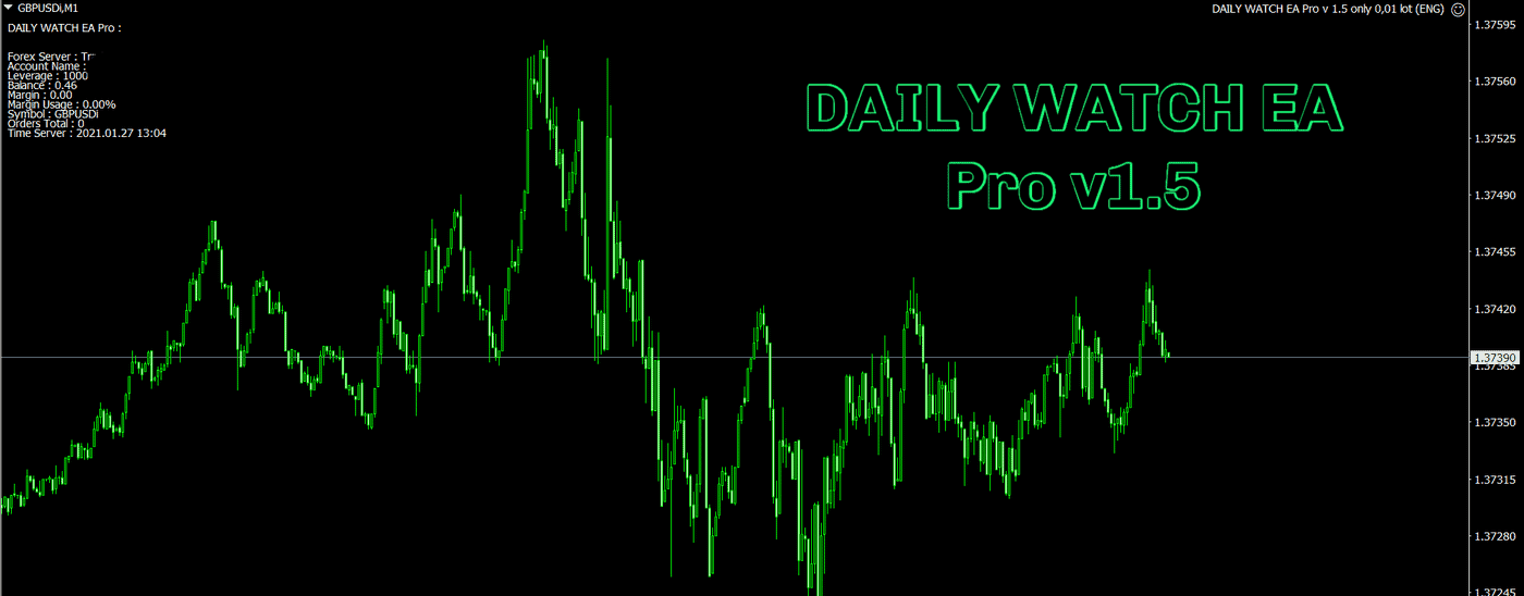 Expert: DAILY WATCH EA Pro v 1.5 only 0,01 lot (ENG) .ex4, Presets: SET 1 for GBPUSD M1 DAILY WATCH EA Pro v 1.5 only 0,01 lot (ENG) .set, SET 2 for GBPUSD M1 DAILY WATCH EA Pro v 1.5 only 0,01 lot (ENG).set, pdf: How to install MT4 files.pdf  Pair – GBP/USD M1 Account – ECN VPS – 2-5 ms Minimal deposit – $50