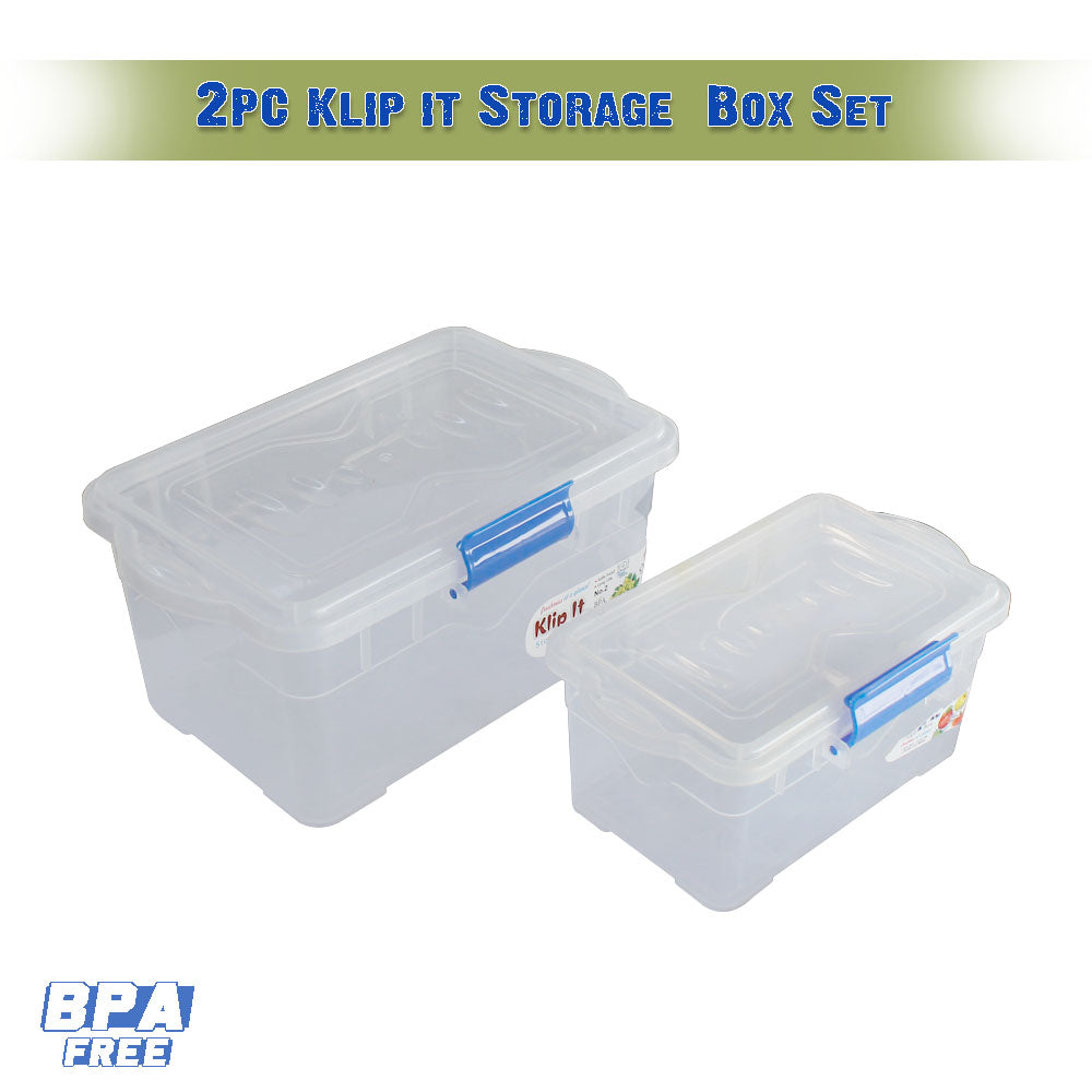 Pack of 2 Klip It Food Storage Container Set Plastic Airtight Lids with Colorful Easy locking clips Microwave Freezer Dishwasher Safe - 7201 AL-Hamra ALHAMRA