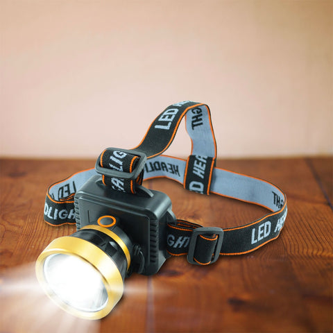 LED Multi-functional Rechargeable Lithium Headlight ZJ-1598-6 80W in 3 Light Modes Brightness + Flash Lasting Power Lithium Core-9912 Alhamra ALHAMRA