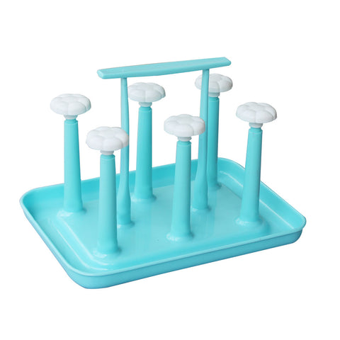 Classic Glass Stand Rolex 6 Hooks Cup Holder Stand Durable Plastic Pullout-Blue 7187 Alhamra ALHAMRA