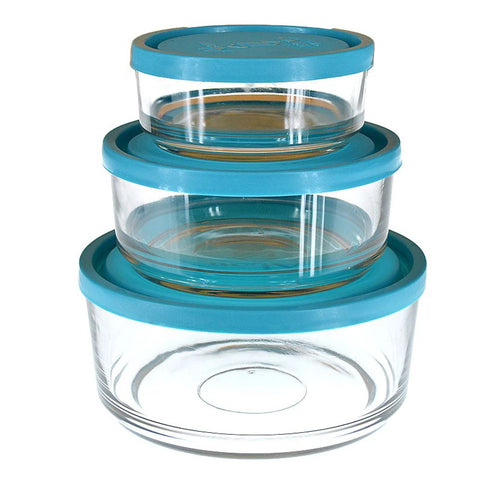 Pack of 3 High Quality Crystal Clear Glass Bowl With Air Tight Multi-color Plastic Closing Lid Kitchen Essential Food Storage Set - 7208 Alhamra ALHAMRA