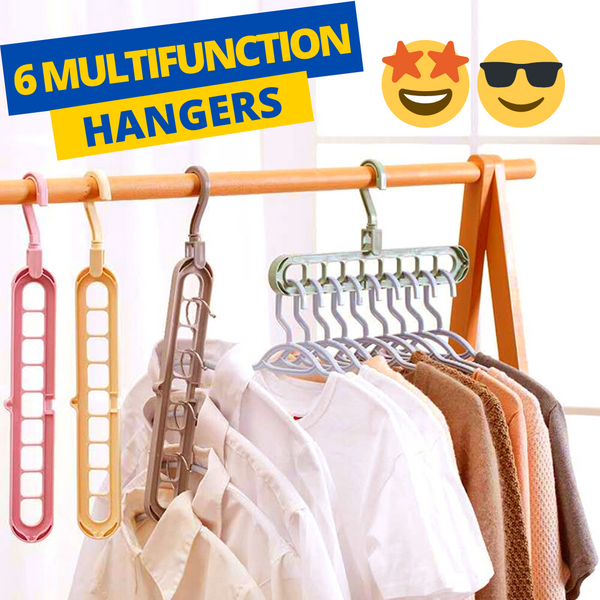 Pack of 6 Adjustable  360 degree Plastic Hanger for Space Saving