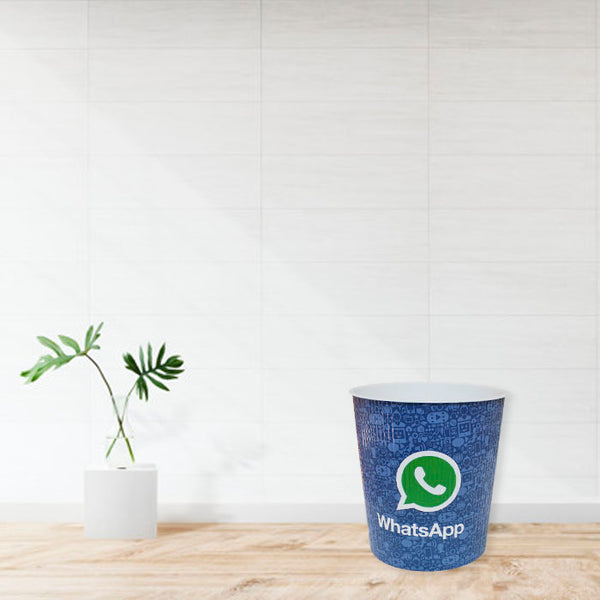 Whatsapp Printed Room Dust Bin PVC Basket