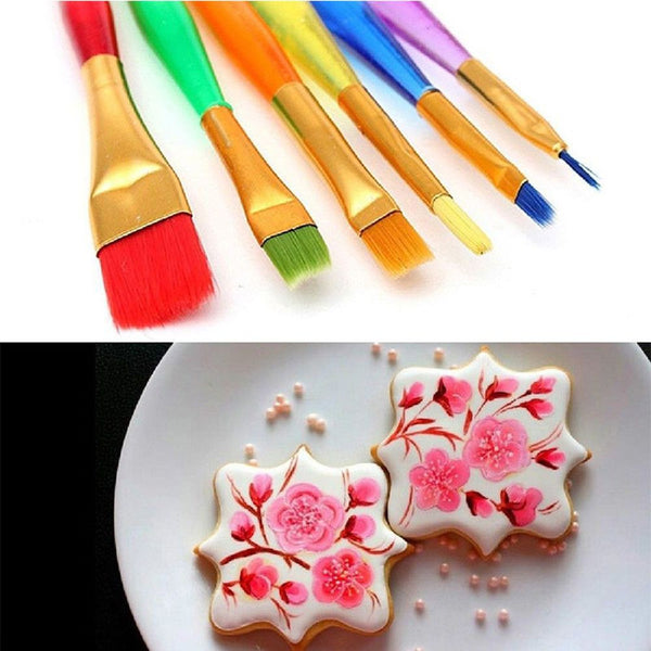 pack of 6-Cake Decorating Coloring Brush Set
