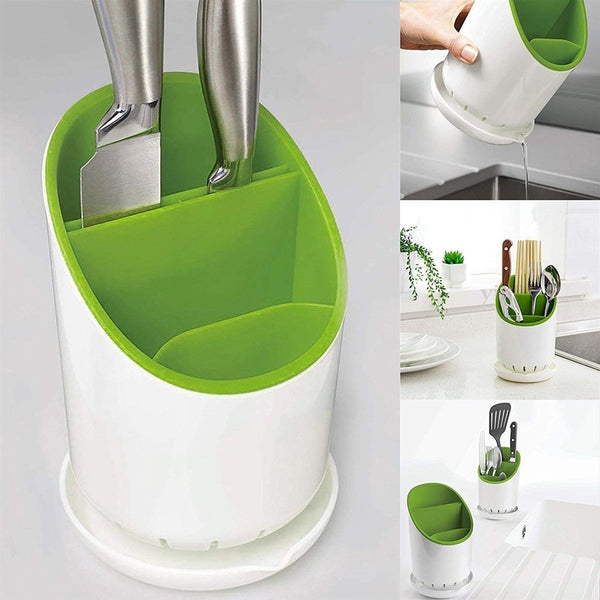 Cutlery Drainer & Oragnizer Spoon Holder - Green