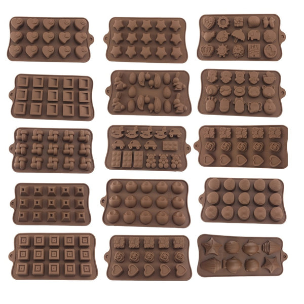 Pack of 2 Silicone Chocolate Moulds - Mixed Shapes