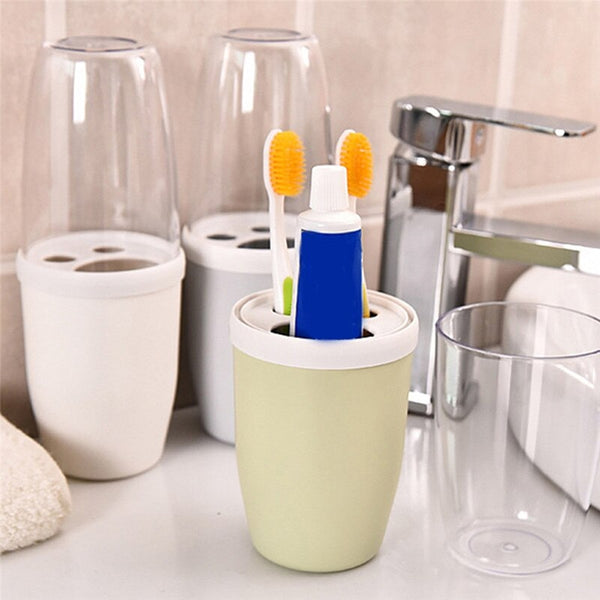 Couple Transparent Cover Toothbrush Toothpaste Holder Organizer - Multicolor