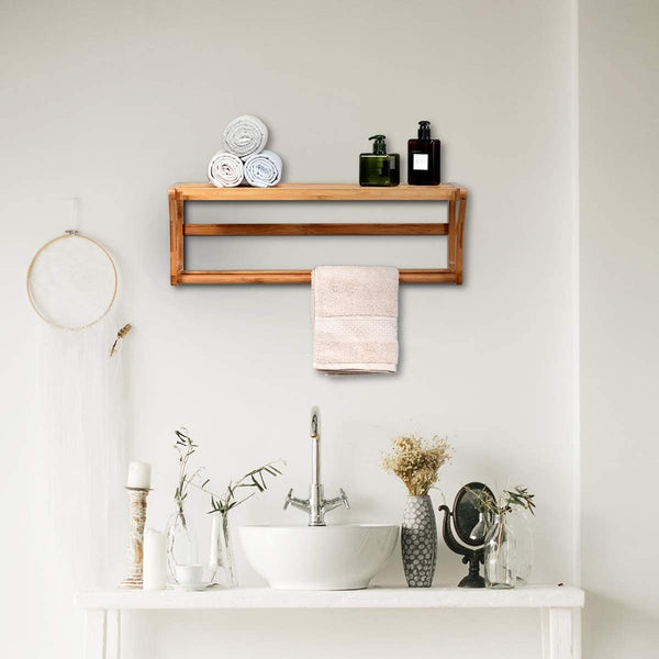 Wall Mounted Wooden Towel Hanger Holder Rack with Shelf