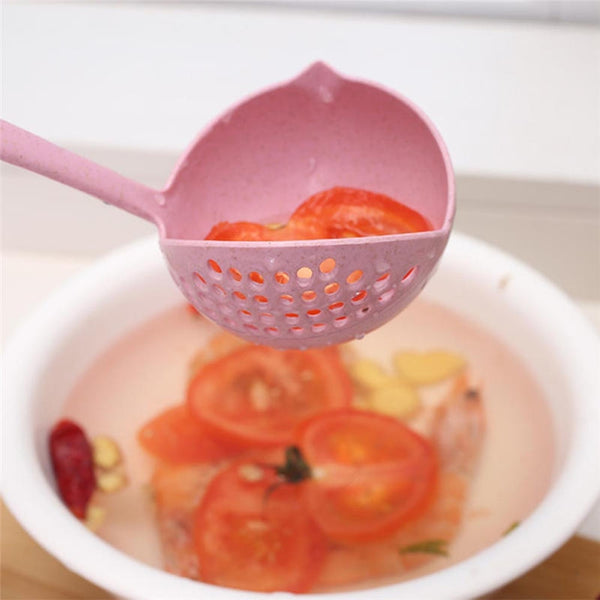 2 in 1 Plastic Draining Laddle Colander Soup Spoon- Multicolor