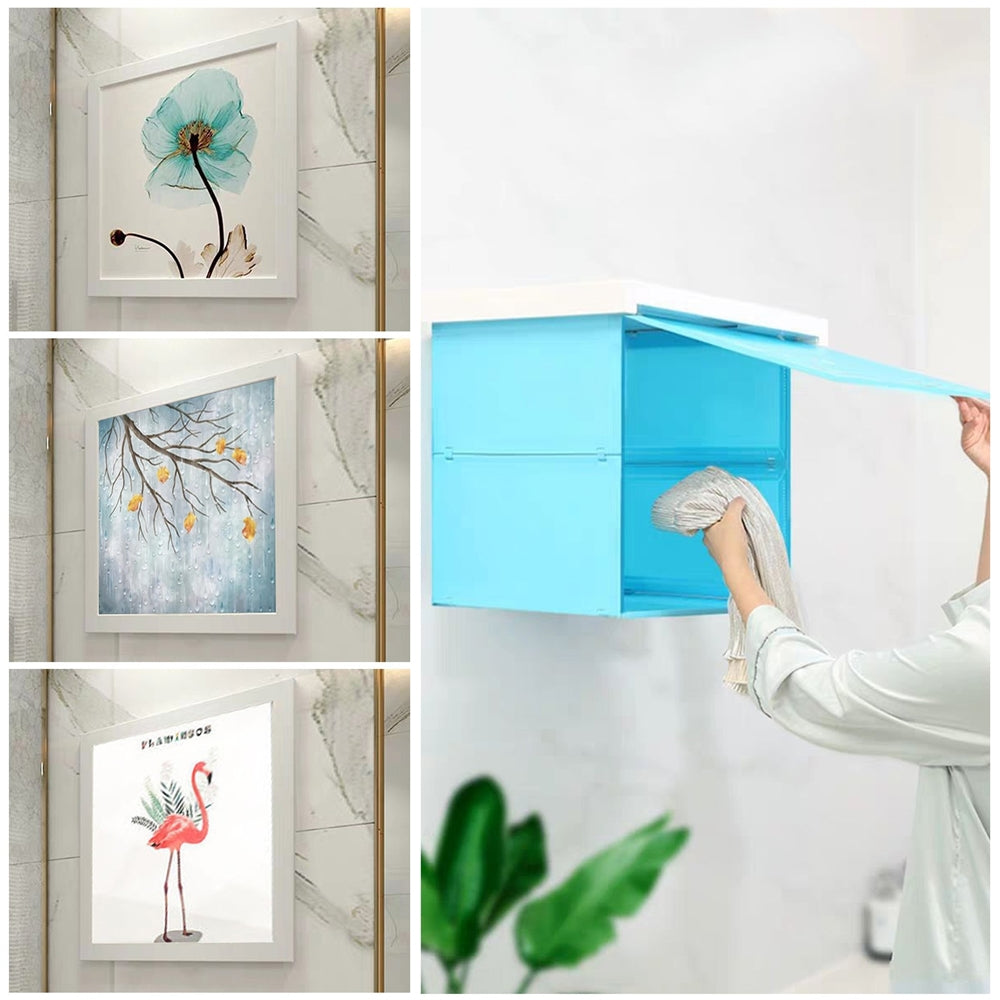 Shower Clothes Storage Cabinet Foldable Shelf Mural Punch-Free Organizer Bathroom Decor