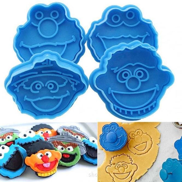 Sugar Craft Plunger Cutter Set of 4 - Smiley Faces Design