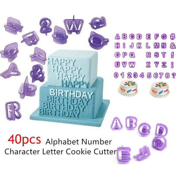 Pack of 40 Numeric & Alphabet cookie cutout - Purple