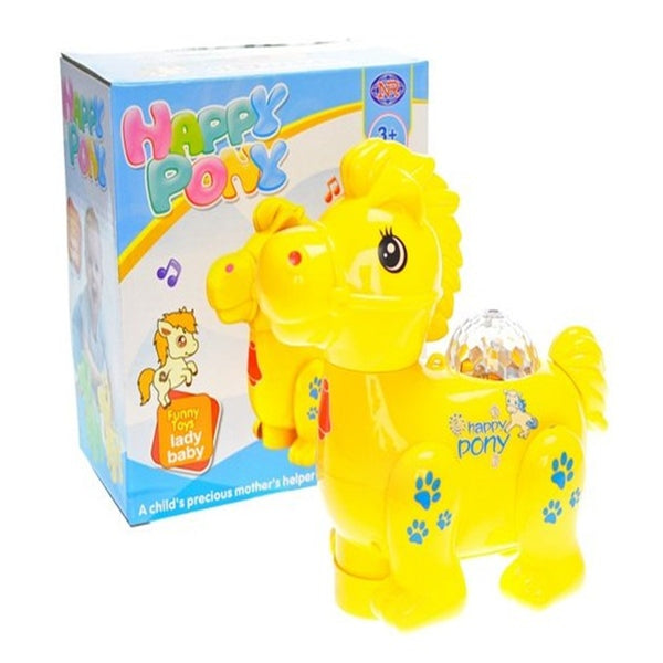 Premium 3D Light Musical Happy Pony Toy for  - Yellow - 5017-A
