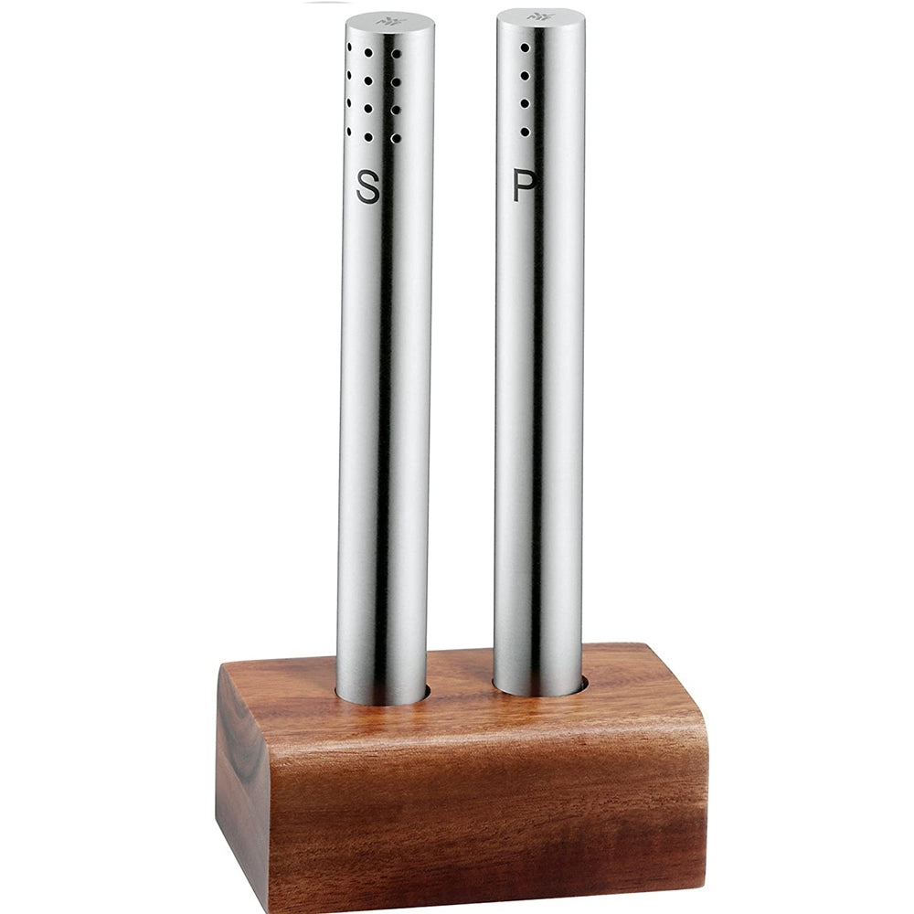 Stainless Steel Salt and Pepper Shaker Set in Bamboo Base