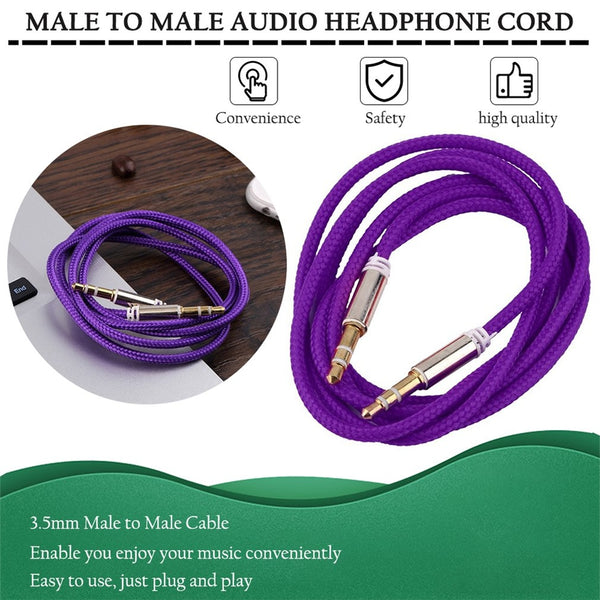 Auxiliary Audio Aux Cable Nylon Braided Unbreakable Cord for Car/Home - 3 Feet - Purple - 3914 Alhamra ALHAMRA