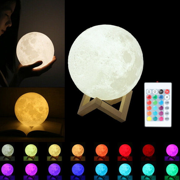 16 Colors Remote Control 3D Moon Lamp
