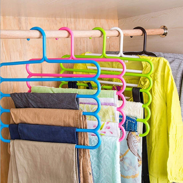 Pack of 2 - Multicolor 5 Layers Antislip Pent Clothes Hangers