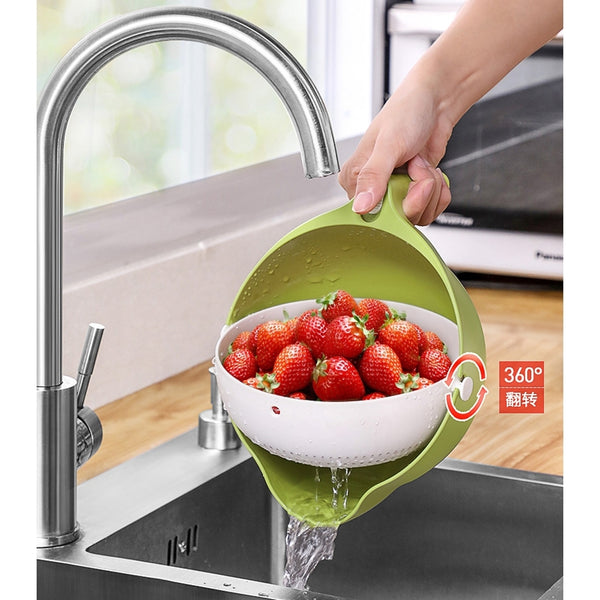 Double Drain Basket Bowl Washing Kitchen Vegetable Storage for Kitchen