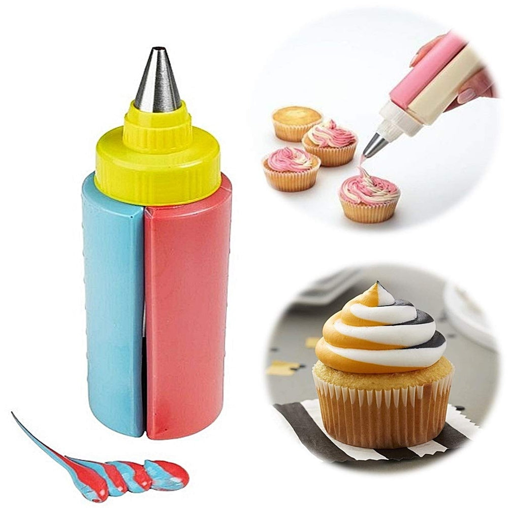Two Colors Dual Action Cake Decorating Bottle with Nozzle