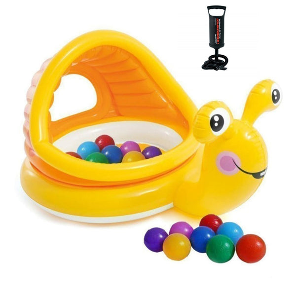 Two Eyes Snail Shade Baby Pool with Free Pump - Yellow