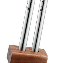 Load image into Gallery viewer, Stainless Steel Salt and Pepper Shaker Set in Bamboo Base