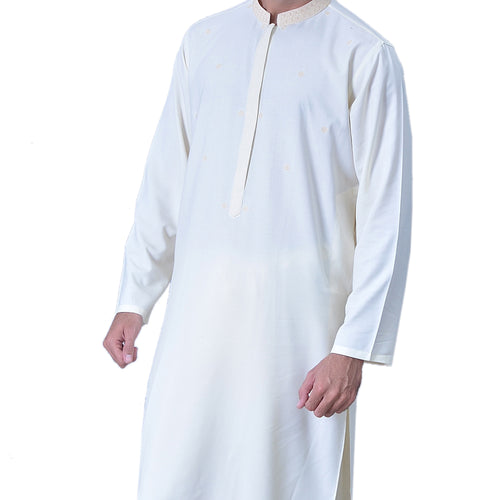 Unstiched Wash & Wear Gents Shalwar Kameez Fabric - Off White Alhamra ALHAMRA