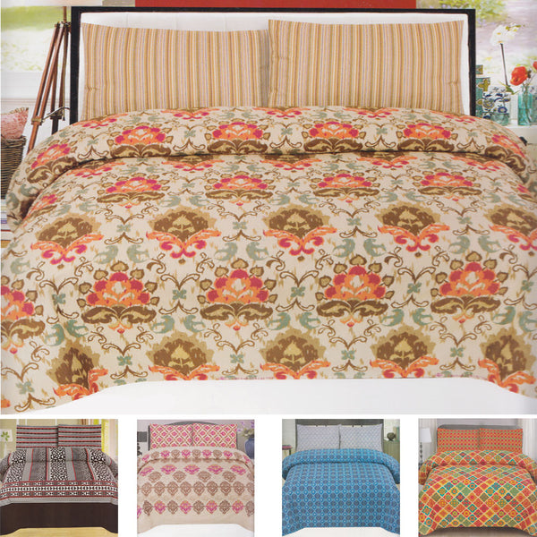 Imported Quality King Size Bed Sheet With 2 Pillow Covers - Cotton - Multicolor Alhamra ALHAMRA