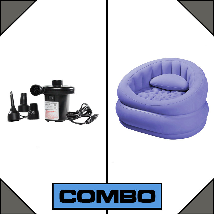 Lounge 'n' Cafe Sofa Chair with Free Air Pump - Purple-Fabric-Alhamra-081-P-ALHAMRA