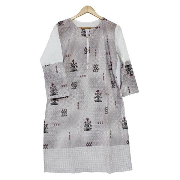 ALHAMRA - Stitched - Embroided Cotton Lawn   Chicken Kari Shirt / Kurti - Free Size