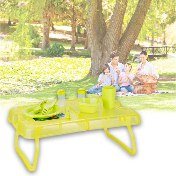27 Pcs Outdoor Picnic Complete Dining Set with Table - Orange-Plastic-Alhamra-7132-ALHAMRA