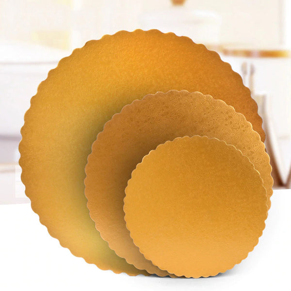 3Pcs 6/8/12inch Stylish Hard Paper Mats & Pads Decor for Birthday and Wedding Party Cakes - Gold Alhamra ALHAMRA