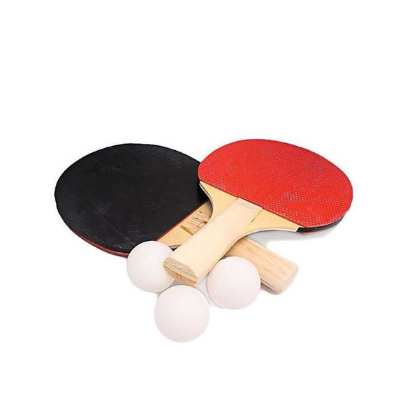 1 Pair Table Tennis Racket Ping Pong Paddle - Comes with 3 Balls - Black & Red-Wooden-Alhamra-8003-ALHAMRA
