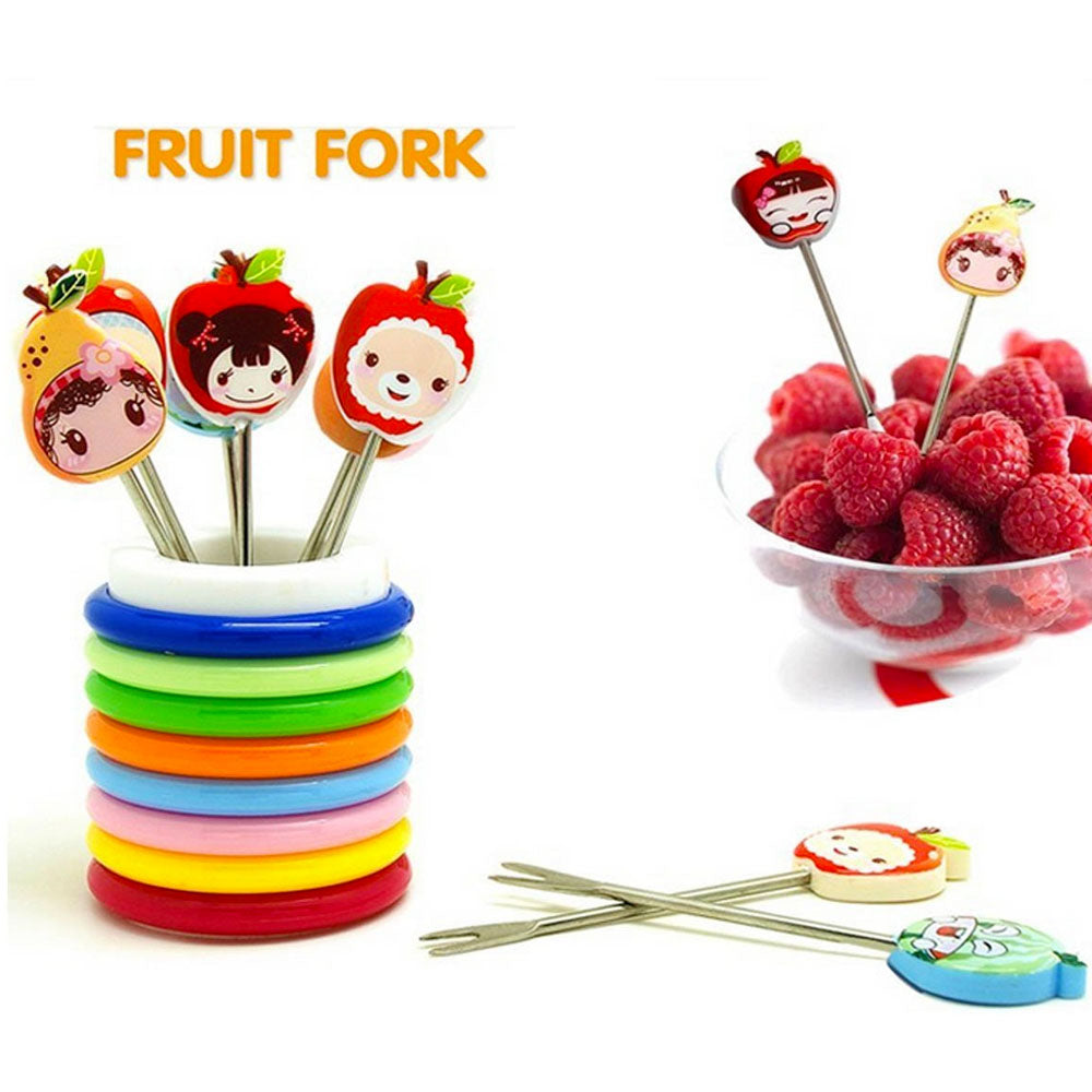Set of 8 pcs Fun Shape Fruit Fork with Rings Stand - MultiColour ALHAMRA ALHAMRA