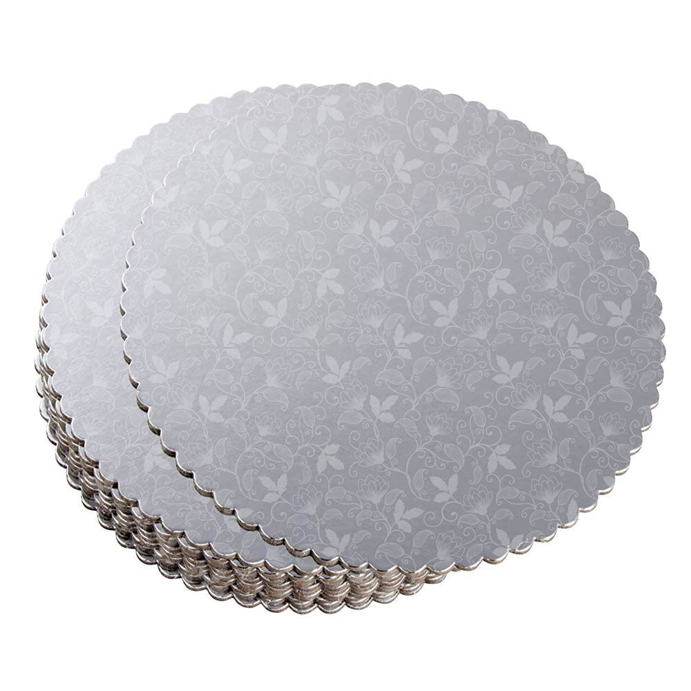 3Pcs 6/8/12inch Stylish Hard Paper Mats & Pads Decor for Birthday and Wedding Party Cakes - Silver Alhamra ALHAMRA