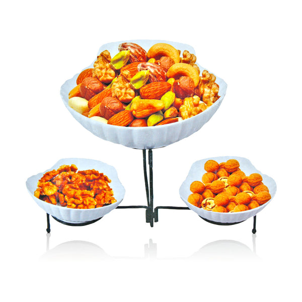 High Grade Porcelain Food Serving Bowl Set with Iron Stand-Mixed-Alhamra-7147-ALHAMRA