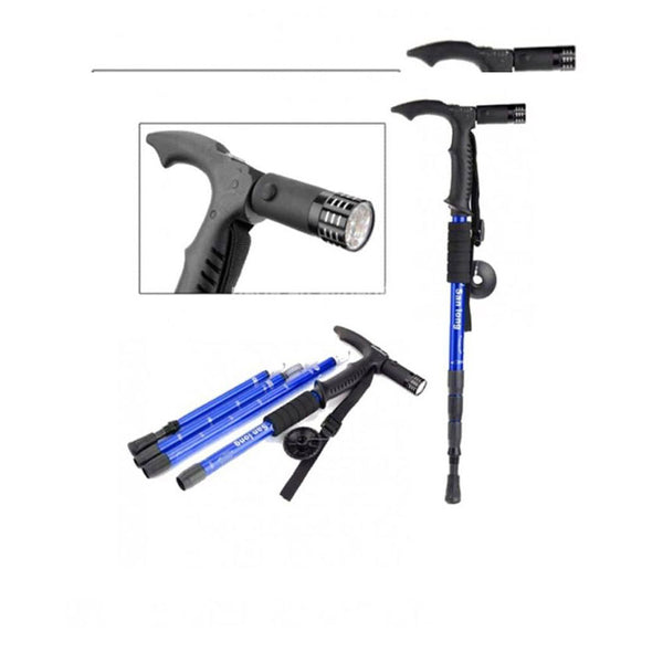 Adjustable Hiking Walking Stick with Torch-Blue-Iron-Alhamra-8138-BL-ALHAMRA